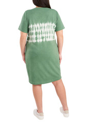 Vince Camuto Tie Dye Stripe Short Sleeve T-Shirt Dress (Plus Size)