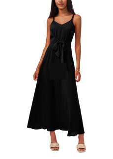 Vince Camuto Tie Front Challis Sleeveless Maxi Dress