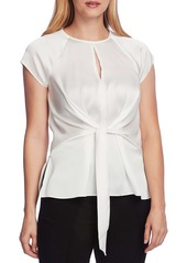 Vince Camuto Tie Front Satin Charmeuse Keyhole Blouse