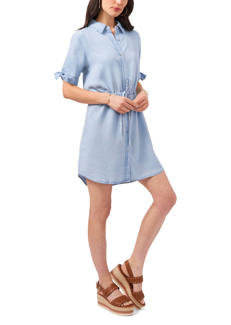 Vince Camuto Tie Sleeve Chambray Shirtdress