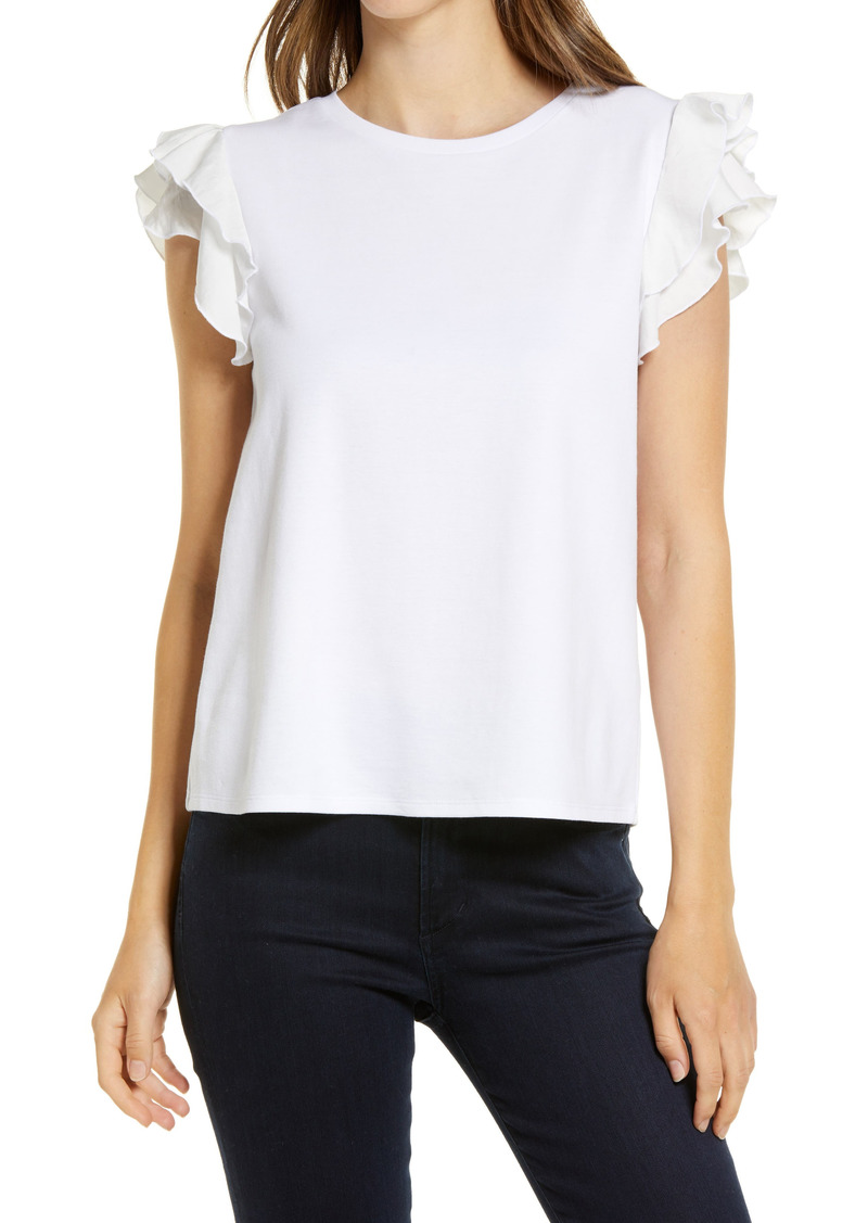 Vince Camuto Tiered Ruffle Sleeve Cotton Blend Top