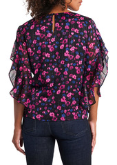 Vince Camuto Twilight Flower Metallic Thread Flutter Sleeve Blouse