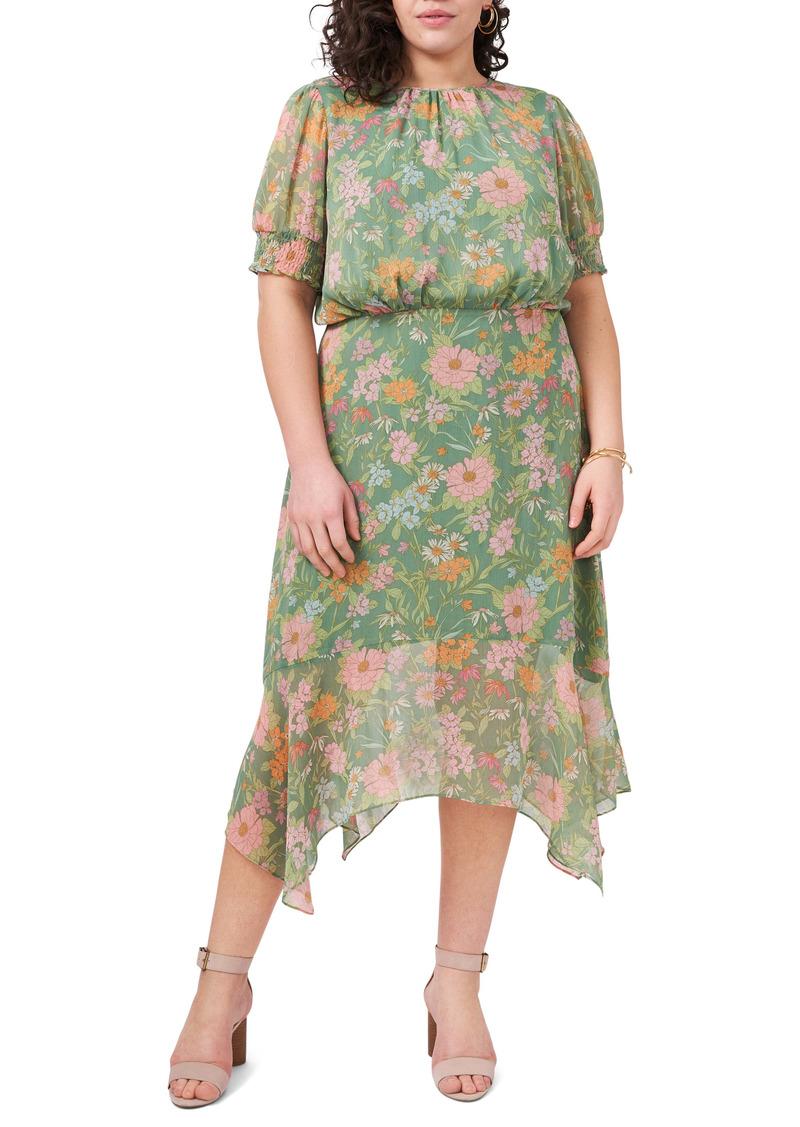 Vince Camuto Verona Gardens Floral Handkerchief Hem Midi Dress (Plus Size)