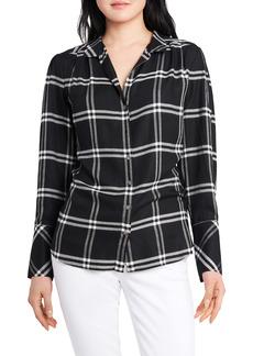 Vince Camuto Windowpane Plaid Long Sleeve Button-Up Shirt