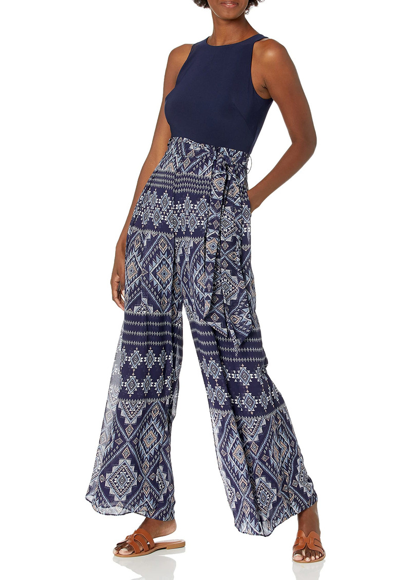 Vince Camuto Women's Chiffon and Jersey Jumpsuit with Wrap Front