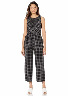 Vince Camuto Women's Sleeveless Belted Even Plaid Jumpsuit