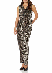 Vince Camuto Women's Sleeveless Elegant Leopard Belted Jumpsuit