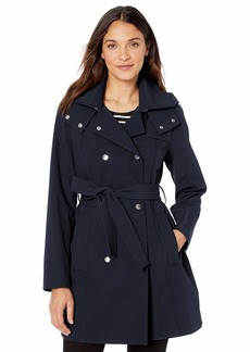 Vince Camuto Women's Stretchable Rain-Resistant Trench Coat with Removable Hood