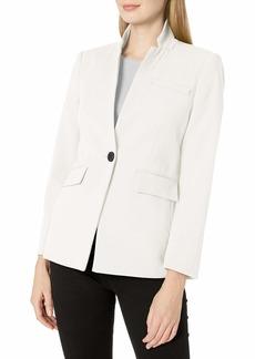Vince Camuto Women's Textured Twill Stand Collar Blazer