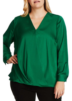 Vince Camuto Wrap Front Hammered Satin Blouse (Plus Size)