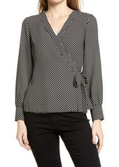 Women's Vince Camuto Diagonal Stripe Crepe De Chine Long Sleeve Side Tie Blouse