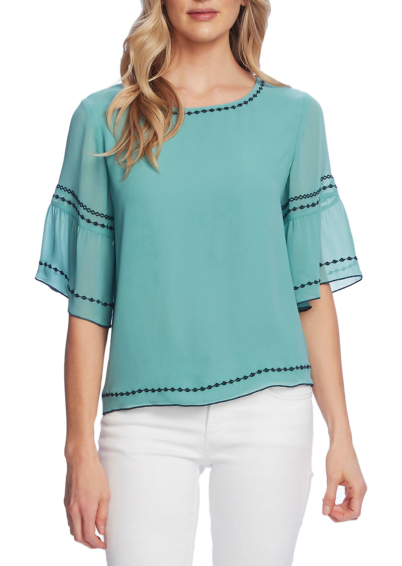Women's Vince Camuto Embroidered Bell Sleeve Chiffon Blouse