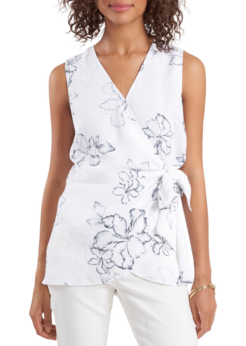 Women's Vince Camuto Floral Beauty Wrap Front Sleeveless Blouse