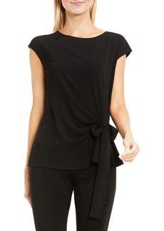 Women's Vince Camuto Mixed Media Tie Front Blouse