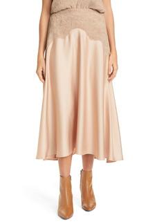 Vince Crinkle Satin Panel Skirt