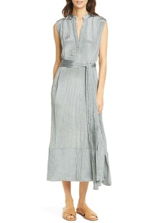 Vince Crinkled Satin Midi Dress