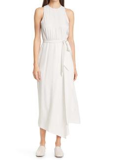 Vince Handkerchief Drape Crinkled Satin Sleeveless Dress