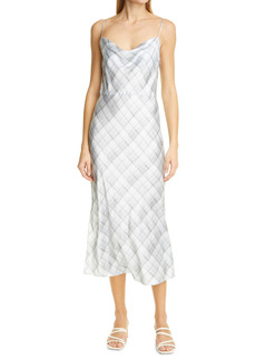 Vince Hazy Plaid Satin Slipdress