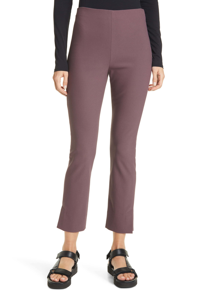 Vince Kick Pleat Crop Flare Leg Stretch Cotton Blend Pants