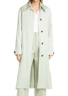 Vince Linen & Cotton Blend Long Trench Coat