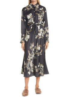 Vince Lisianthus Tie Front Long Sleeve Shirtdress