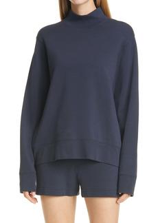 Vince Mock Neck Long Sleeve Stretch Cotton Sweatshirt