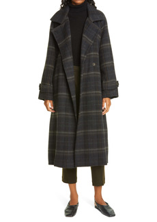 Vince Modern Plaid Wool Blend Trench Coat