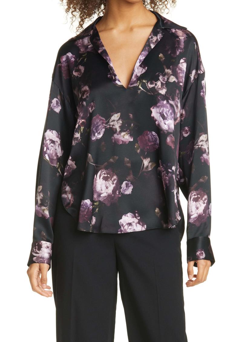 Vince Night Garden Silk Popover Blouse