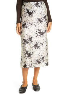 Vince Painted Crema Silk Midi Skirt