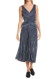 Vince Ruched Textured Velvet Sleeveless Dress