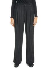 Vince Stripe Wide Leg Flannel Trousers