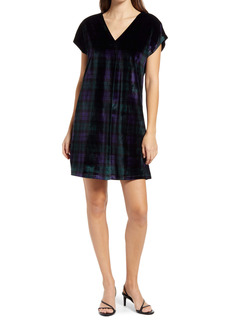 vineyard vines Black Watch Velvet V-Neck Dress