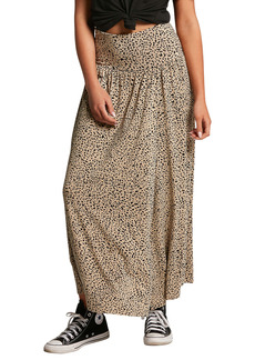 Volcom High Wired Animal Print Maxi Skirt