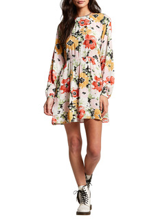 Volcom In Tiers Floral Long Sleeve Dress