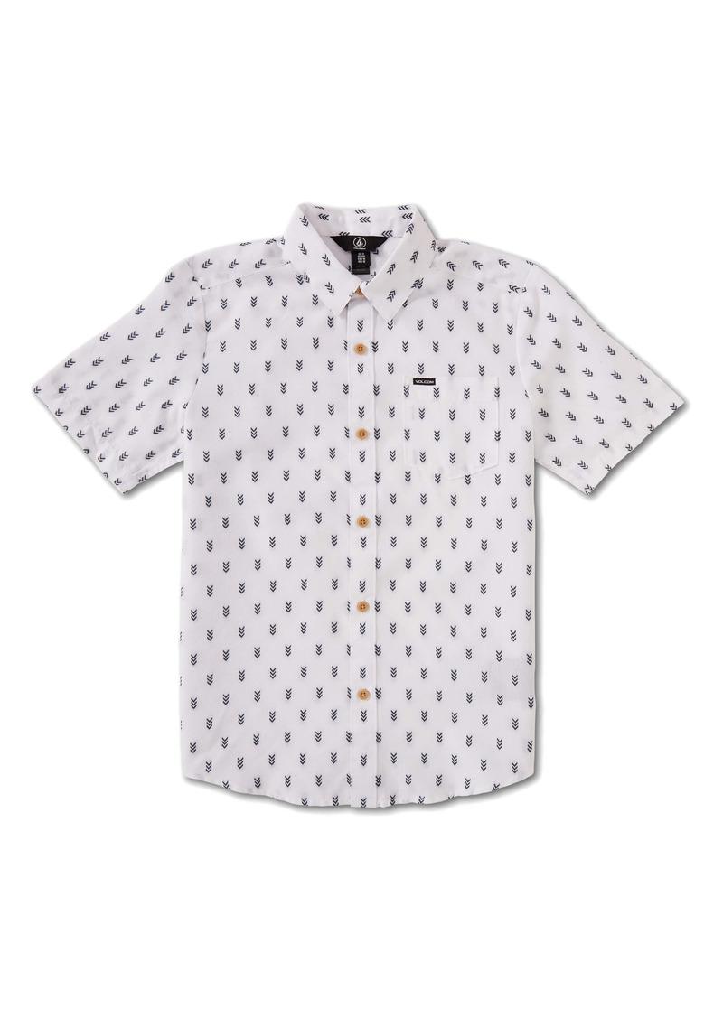 Volcom Kids' Danforth Geo Print Short Sleeve Button-Up Shirt (Big Boy)