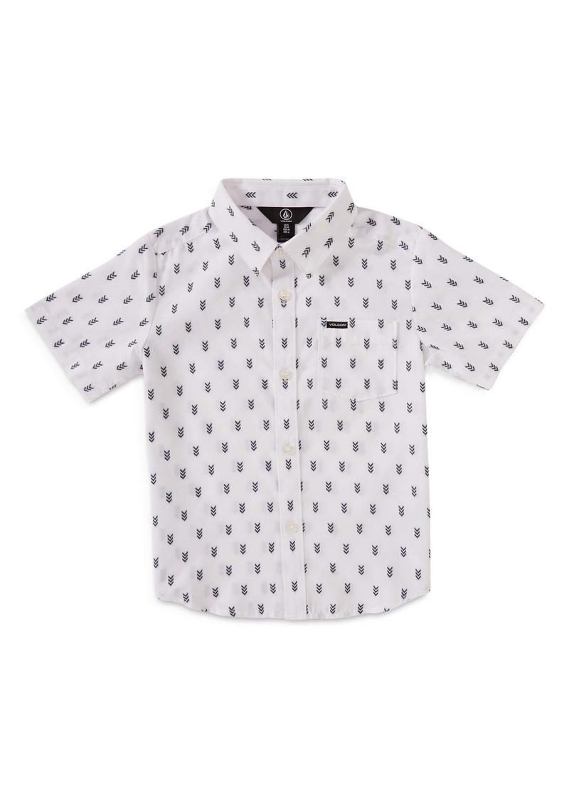 Volcom Kids' Danforth Geo Print Short Sleeve Button-Up Shirt (Toddler & Little Boy)