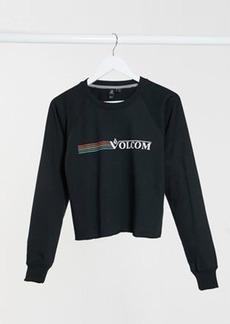 Volcom truly stoked crew logo sweatshirt in black