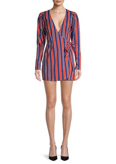 WeWoreWhat Blanca Striped Wrap Mini Dress