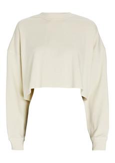 WeWoreWhat Cropped Crewneck Fleece Sweatshirt