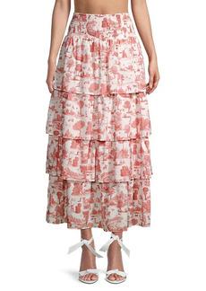 WeWoreWhat Paloma Pastoral-Print Maxi Skirt