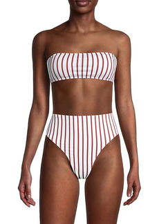 WeWoreWhat Rosy Striped Bandeau Bikini Top