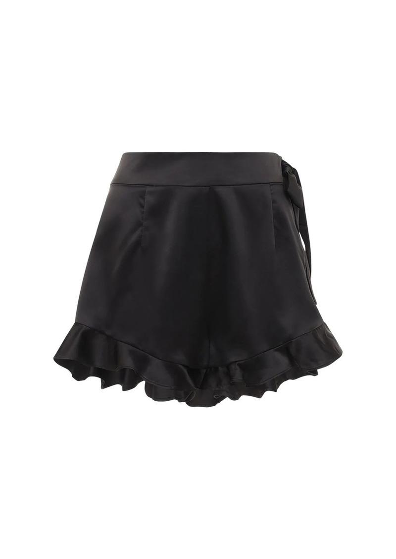WeWoreWhat Ruffled Charmeuse Shorts