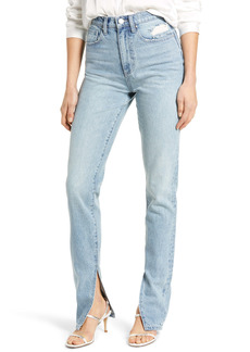 WeWoreWhat We Wore What Stiletto High Waist Slit Hem Skinny Jeans (Studio)