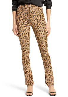 WeWoreWhat We Wore What Stiletto High Waist Split Hem Leopard Skinny Jeans
