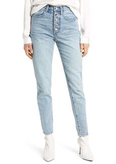 WeWoreWhat We Wore What The Danielle Crystal Exposed Button High Waist Jeans (Studio)