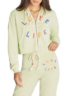 Wildfox Kinley Love Life Crop Zip Hoodie