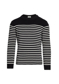 Yves Saint Laurent Button-Shoulder Striped Sweater