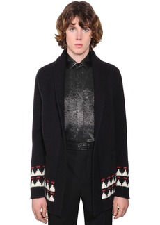 Yves Saint Laurent Embellished Jacquard Wool Cardigan