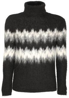Yves Saint Laurent Intarsia Mohair Blend Turtleneck Sweater