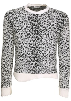 Yves Saint Laurent Leopard Jacquard Wool Blend Sweater